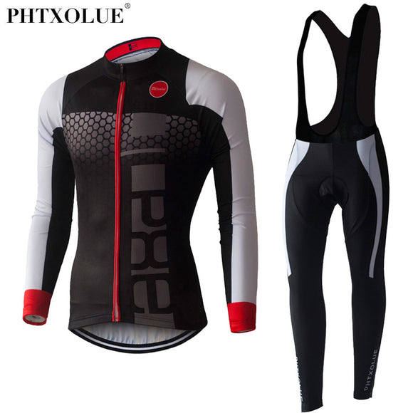 PHTXOLUE Long Sleeve Cycling Set 2017 Mtb Jersey Bike Wear Clothes Ropa Ciclismo Winter Thermal Fleece Cycling Clothing Men