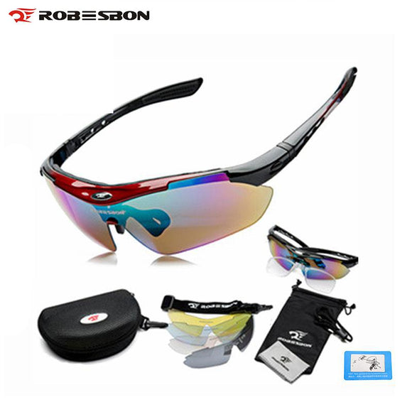 ROBESBON Sport Bike Bicycle Men Women Polarized Sunglasses Goggles Glasses Eyewear 5 Lenses  Oculos Occhiali Ciclismo