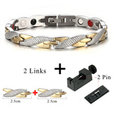 Unisex Health Energy Magnetic Ion Germanium e Chain Link Stainless Steel Bracelet