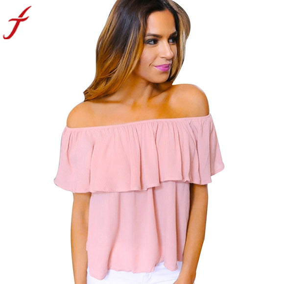 Off Shoulder Blouse 2017 Women Crochet Shirts Loose Sleeveless Shirt Casual Solid Pink Structured Bardot Short Blouse