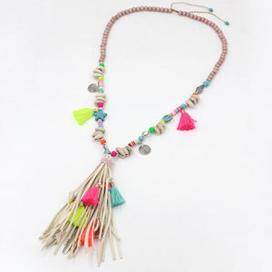 Women's Bohemian Colorful Strand Tassel Pendant  Necklace