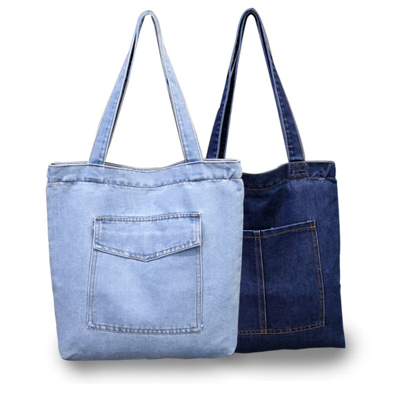Casual Designer Denim Jean Tote Bag