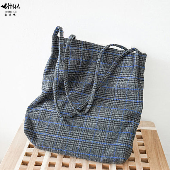 New Vintage Heavy Duty Plaid  Fashion Tote Bag