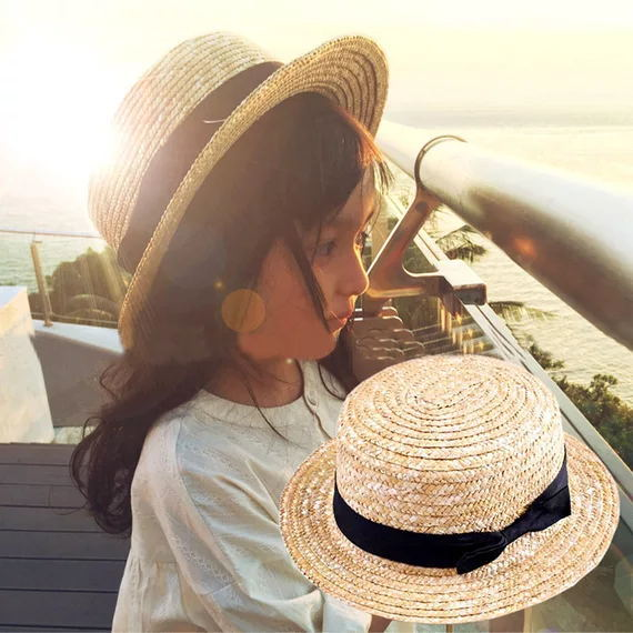 Kids Large Brim Beach Summer Fedora Hat
