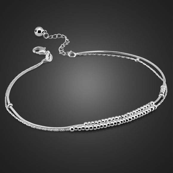 New fashion double sterling silver anklet. Simple solid 925 silver round bead anklet for woman. Girls sterling silver jewelry