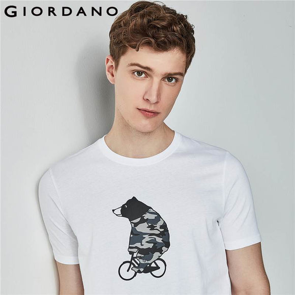 Men's Cotton Printed  Giordano Graphic  Bear Pattern Tees