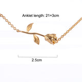 3UM Rose Anklet Sandals Summer Beach Beauty and The Beast Forever Love Final Rose Flower Body Jewelry Women Valentine's Day Gift