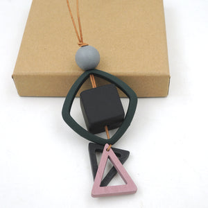 geometric triangle cube pendant minimalist wood statement modern everyday simple gery pink genuine leather cord brand NW045