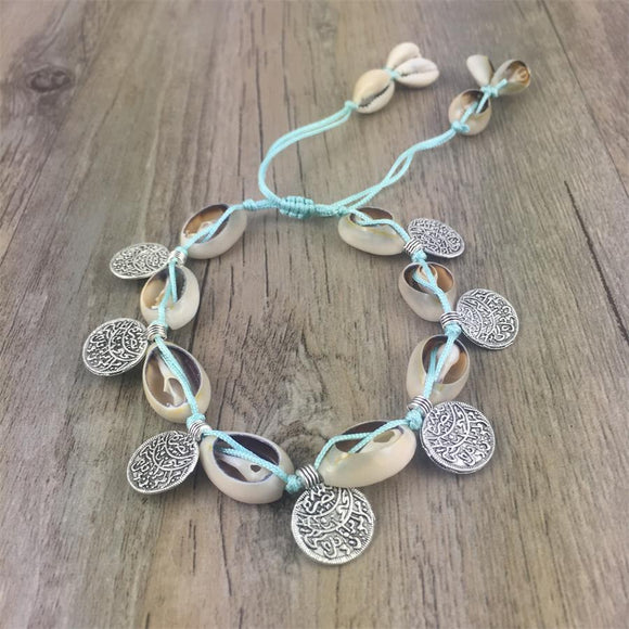 Women's Barefoot Foot Antique Silver Coin Squirrels Anklet