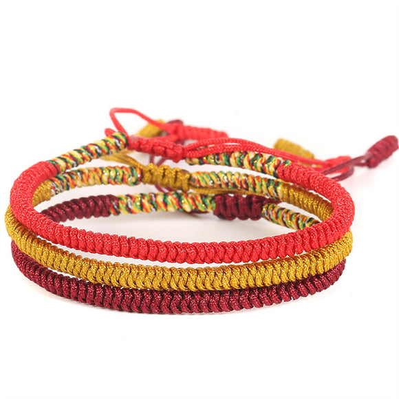 3PCS\SET Handmade Multi Color Tibetan Buddhist Good Lucky Knots Rope Charm  Bracelets & Bangles For Women Men Bracelet