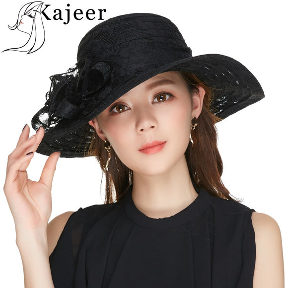 Women's  Floral Crown Black Church Hat