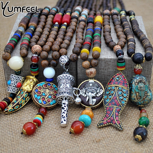 Handmade Nepal Buddhist Mala Wood Beads  Ethnic Horn Fish Long Necklace and Pendant