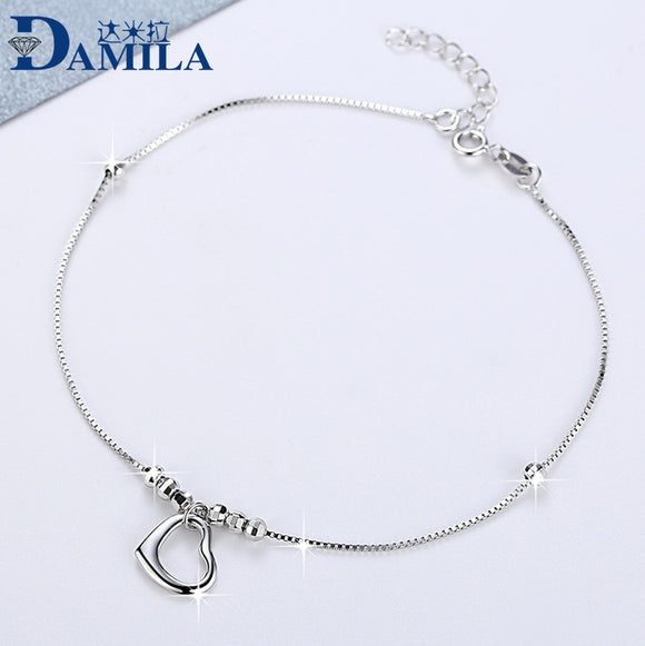 1pc delicated Heart anklet foot chain silver 925 Fashion S925 sterling silver Anklets for women