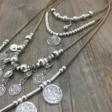 Handmade India Silver Coin Pendants  String Leather Ethnic Necklace