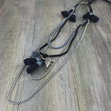 Women's Leather Tassel Vintage  Multi Layers Long Necklace
