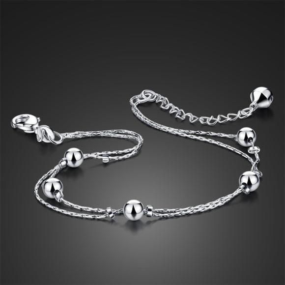 Fashion simple woman sterling silver anklet. 100%Solid 925 Silver Bead Anklet. Personality double sterling silver anklet jewelry