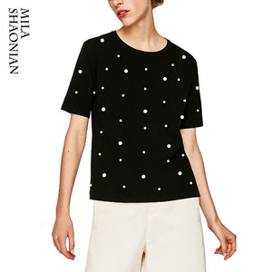 2018 Fashion Summer Pearl T shirt Women Casual Solid Tshirt Cotton Beading Black White t-shirt O-neck Pearl tops tees femme