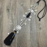 Double Layer Bohemian String Chain  Shell Bead Alloy Tassel Pendants Necklace