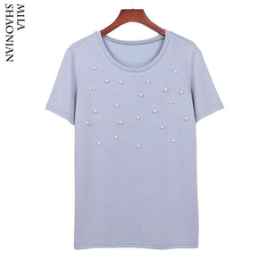 Summer Modal Pearl T Shirt Women Casual Beading Pearl Comfortable O-Neck White T-shirt Solid Knitted Elasticity Tops tees Female