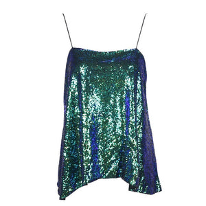 Women's  Spaghetti Strap Glitter Mermaid Sequin Party Tank  Top