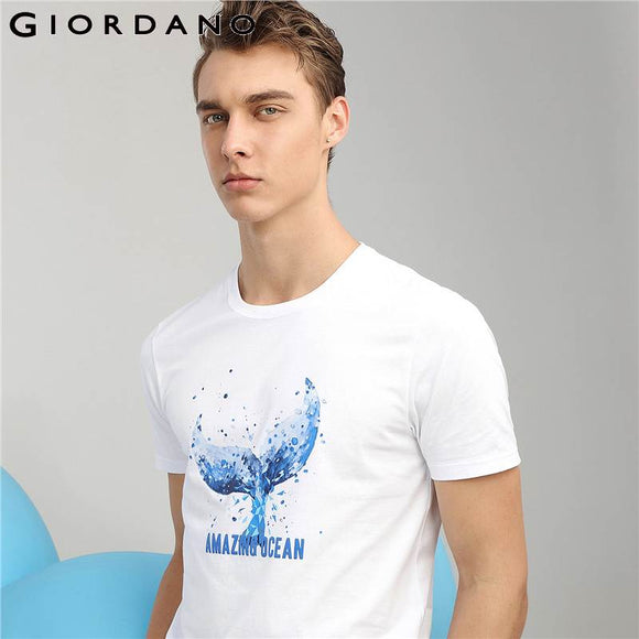 Men's Cotton Printed Giordano  Amazing Ocean Graphic Tees