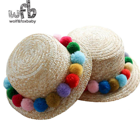 Kids Round Sun Summer Flattened Straw Hat