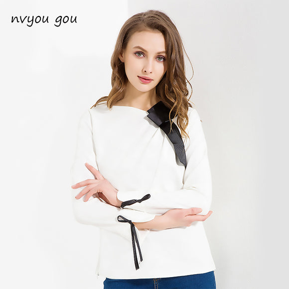 nvyou gou White Blouse Long Sleeve Fashion Skew Collar Bow Elegant Women Chiffon Blouses 2018 Women Tops Plus Size Korea Style