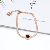 Fashion Stainless Steel love anklet Rose Gold Color leg bracelet heart pendant snake chain adjustable foot jewelry for women