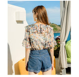 Women's Ruffled Collar Printed Chiffon Summer Blouse