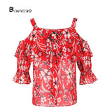 Women's  Printed Floral Chiffon Off Shoulder Blouse