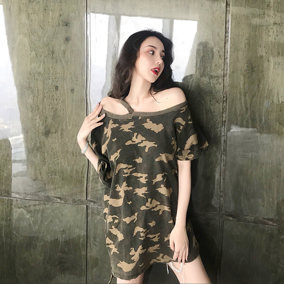 Women's Camouflage Loose Slash Neck Tees