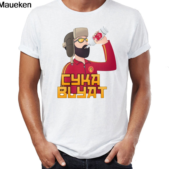 Men's Cotton Printed  Russian Gamer Cyka Blyat Tees