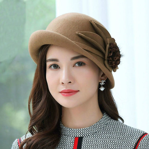Women's Asymmetric Brim Wool Fedora Hat