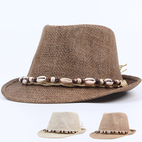 Men's Shell Ribbon Panama  Fedora Hat