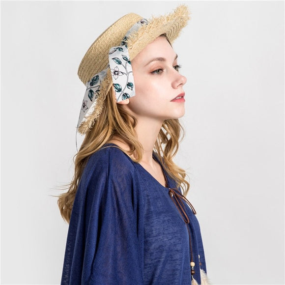 Women's  European  Bowknot Ribbon Straw Hats