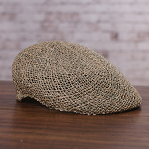 Men's Natural Straw Beret Cap