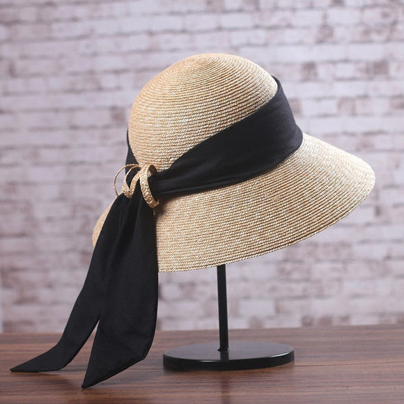 Women's  Fashion Wide Brim Long Ribbon Straw Hat