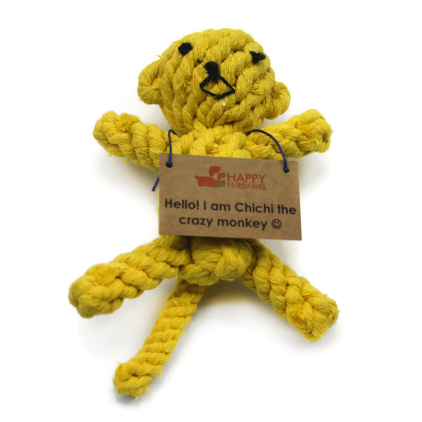 CHICHI THE CRAZY MONKEY - SMALL DOG ROPE TOY - BESTSELLER FAVOURITE