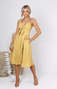 Samantha Dress - Mustard,  Australian Ethical Clothing Label Rare Muse