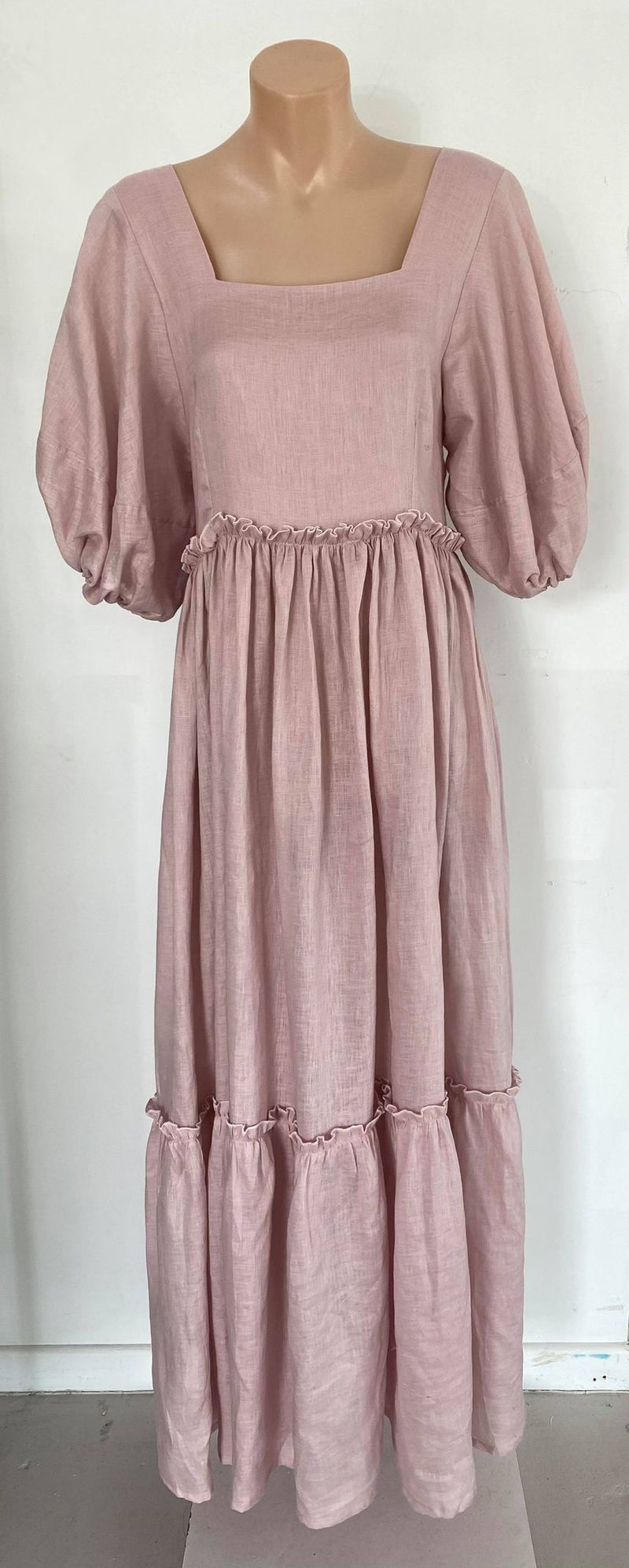 Annette Daley Puff Sleeve Maxi Dress - Rose