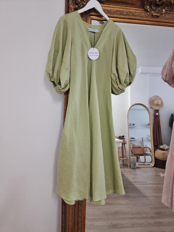 Annette Daley Linen Puff Sleeve Dress - Green Tea