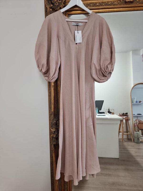 Annette Daley Linen Puff Sleeve Dress - Taupe