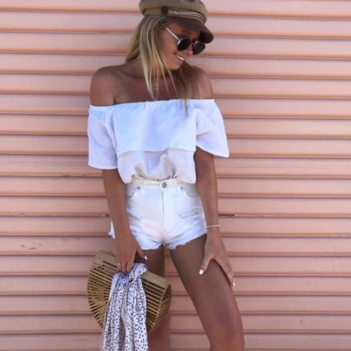 Isla Off The Shoulder Top -  White Linen, top Australian Ethical Clothing Label Rare Muse