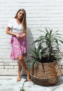 Clementine Wrap Skirt - Botanical, skirts Australian Ethical Clothing Label Rare Muse