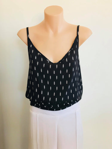 ANGELINA CAMI - BLACK & WHITE PRINT, top Australian Ethical Clothing Label Rare Muse