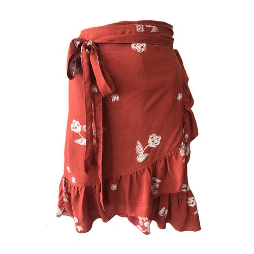 Clementine Wrap Skirt - Terracotta Flower, skirts Australian Ethical Clothing Label Rare Muse