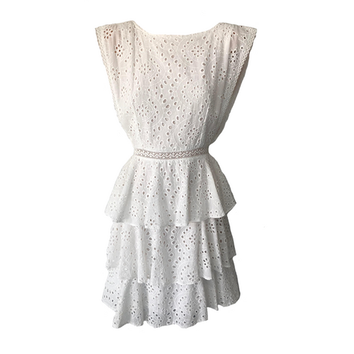 Daisy Ruffle Dress -White, dress Australian Ethical Clothing Label Rare Muse