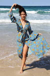 Karma Kimono Top - Blue Floral, top Australian Ethical Clothing Label Rare Muse