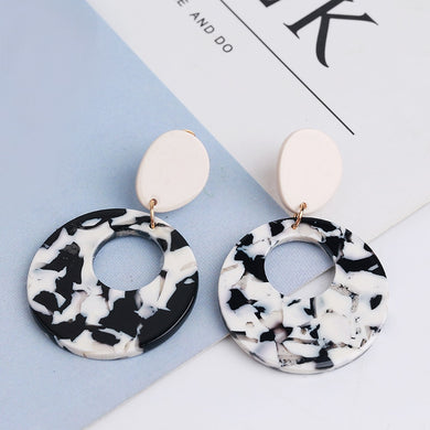 Resin Earring - Black/White, earring Australian Ethical Clothing Label Rare Muse