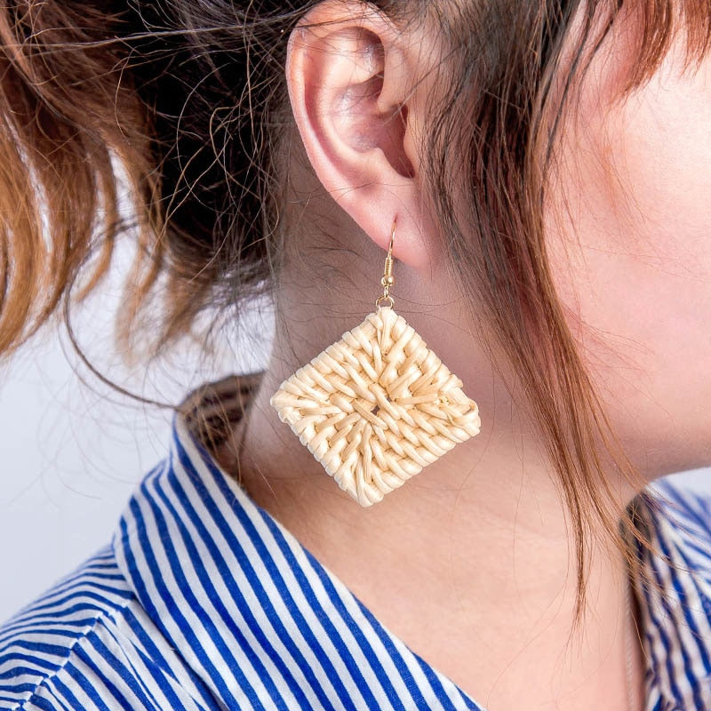 Woven Rattan Earring, earring Australian Ethical Clothing Label Rare Muse